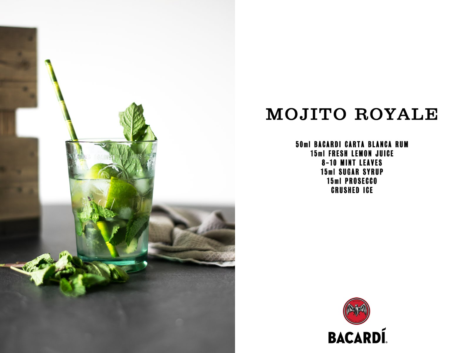The original bacardi mojito, recipe, strawberry mojito, mojito royale, prosecco, fruit, cocktails, summer cocktails, homemade, diy