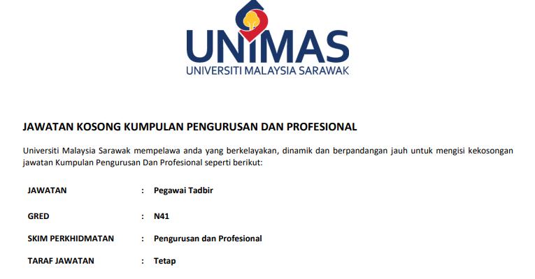 Jawatan Kosong di Universiti Malaysia Sarawak