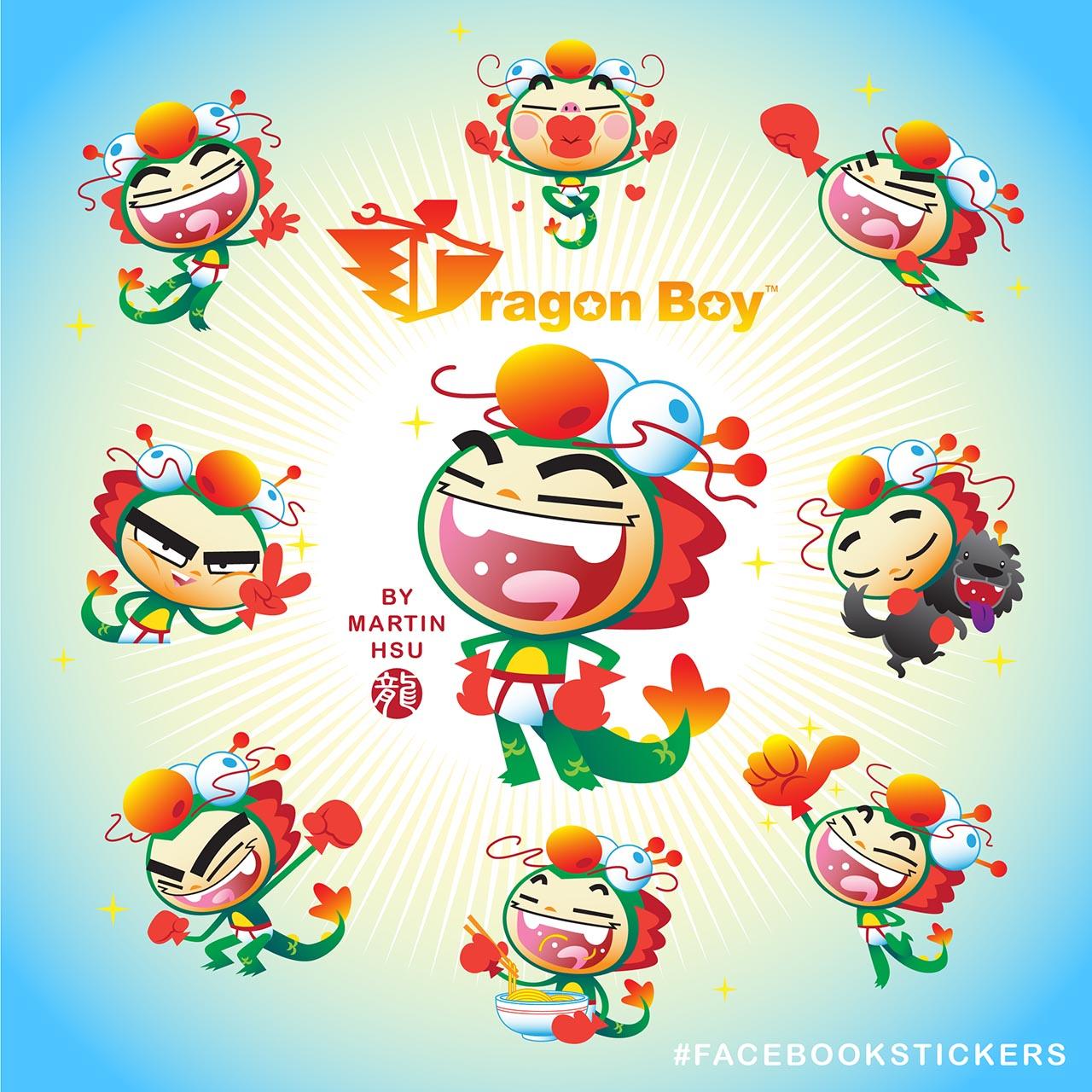 Martin Hsu's Dragon Boy Official Facebook Stickers Free For