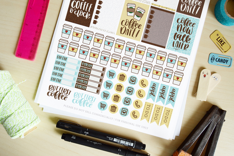 handlettered free printable stickers