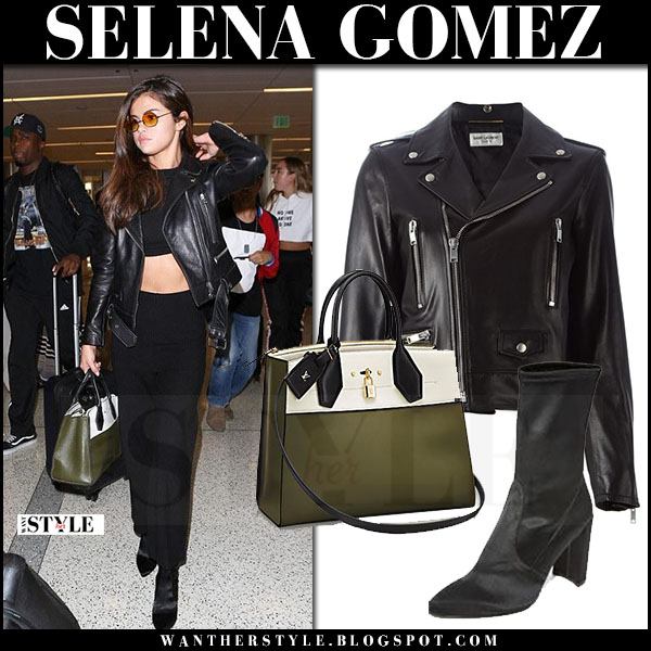 Selena Gomez in black leather jacket saint laurent and crop top what she wore june 2 2017 airport fashion