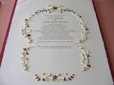 Elegant Quilled Quaker Marriage Certificate