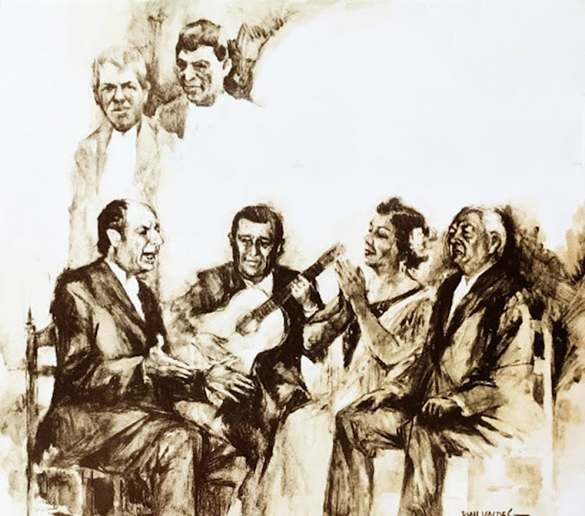 JUAN TALEGA EN UNA PINTURA DE JUAN VALDÉS CON ANTONIO MAIRENA, NIÑA DE LOS PEINES MELCHOR DE MARCHENA,  MANUEL TORRE Y JOAQUÍN EL DE LA PAULA