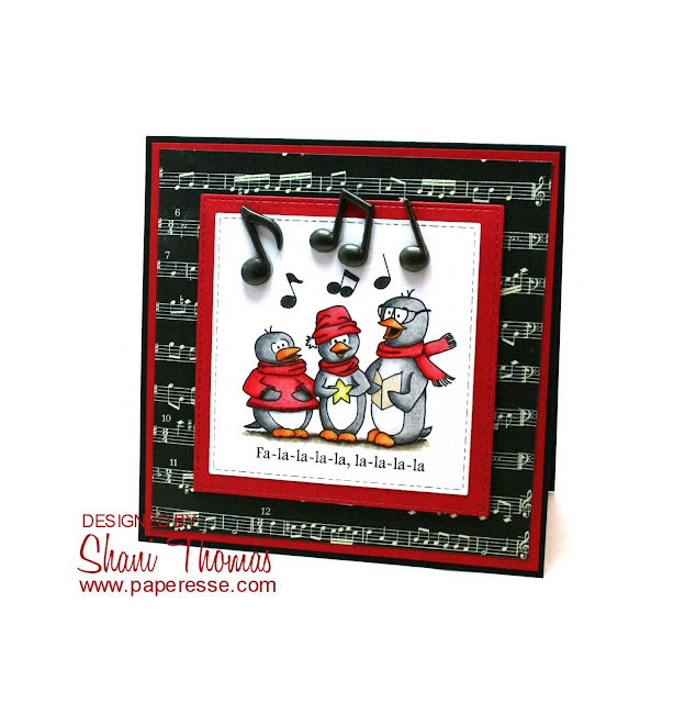 Caroling penguins Christmas card, featuring Scribbles Designs Three B digital stamp, by Paperesse.