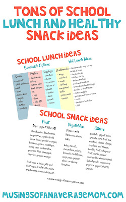 school lunch and healthy snack ideas