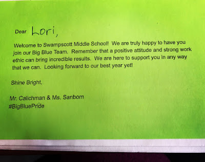 This image shows a welcoming note to an incoming 5th Grader signed by Mr. Calichman and Ms. Sanborn