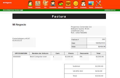 Sistema de venta con Factura