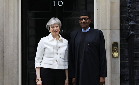 Buhari Meets With British PM Theresa May - Photo