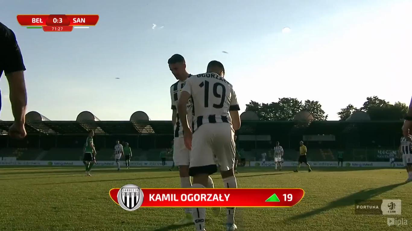 23. kolejka: GKS Bełchatów - Sandecja Nowy Sącz 0:3<br><br>fot. Polsat Sport / IPLA