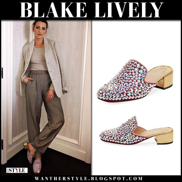 Blake Lively in crystal embellished mules christian louboutin celebrity style april 29