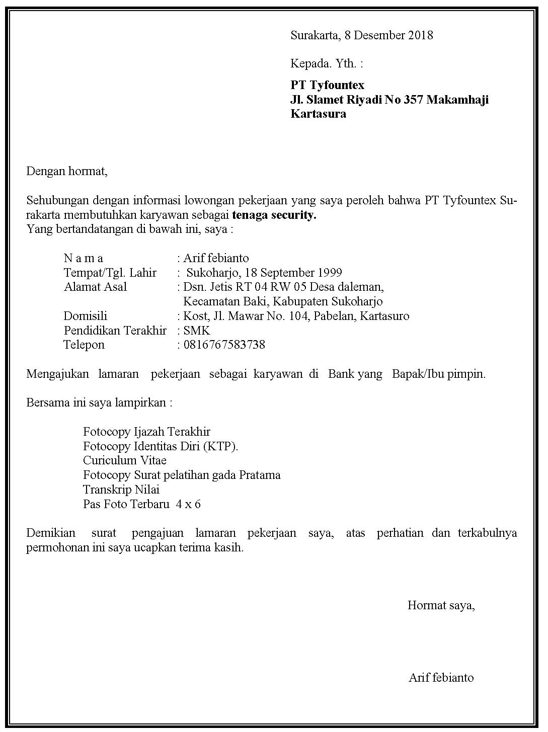 Contoh surat lamaran kerja Security di PT tyfountex.