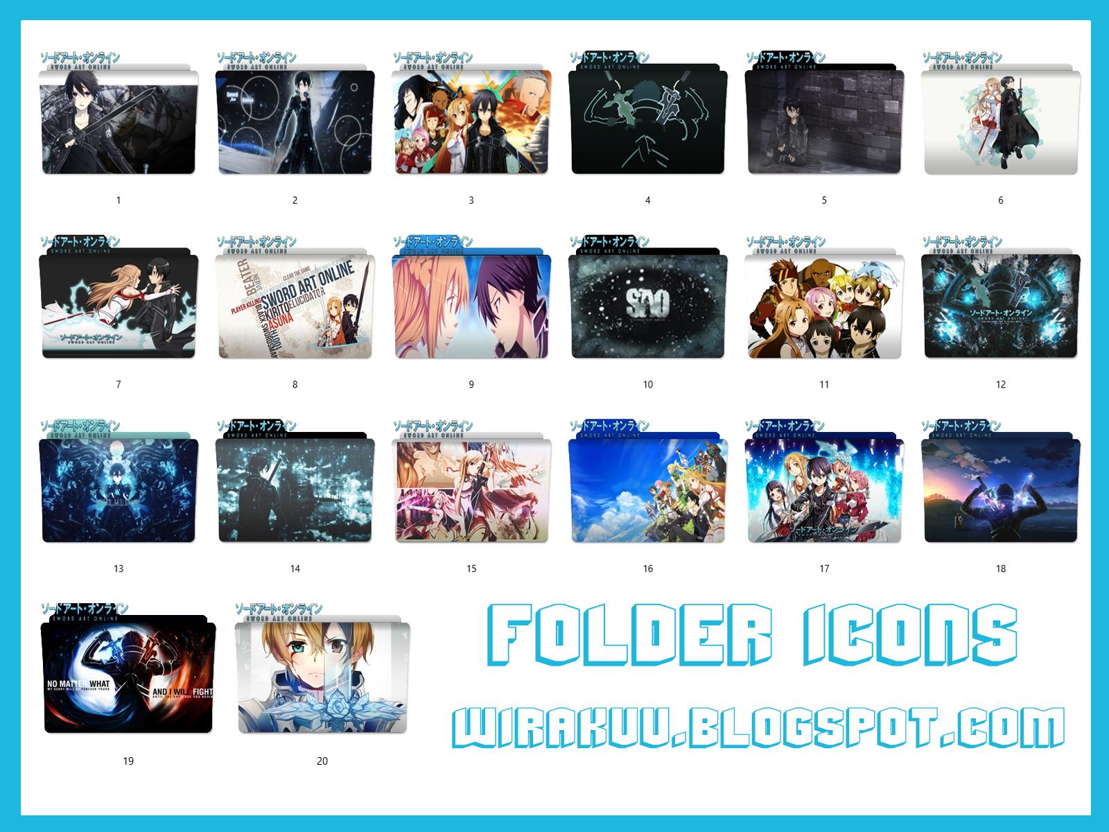 20 Folder Icons Anime Sword Art Online Pack 2 (Windows 7, 8, 10)