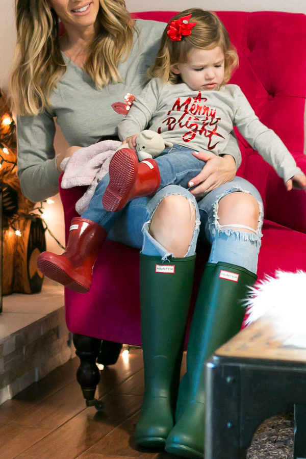 holidays at home mama and daughter style hunter boots