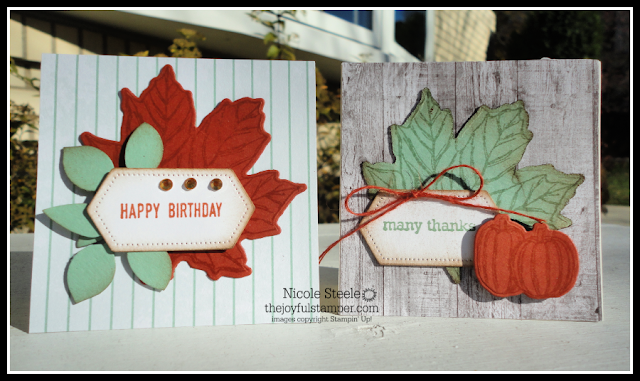 3x3 note cards 1 and 2 using Stampin' Up!'s Come To Gather product suite