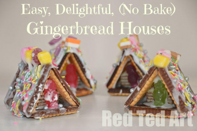 easy mini gingerbread houses - Christmas advent countdown.  Fun Christmas craft and activity ideas for every day of advent. Perfect ideas for toddlers, preschoolers and older kids.