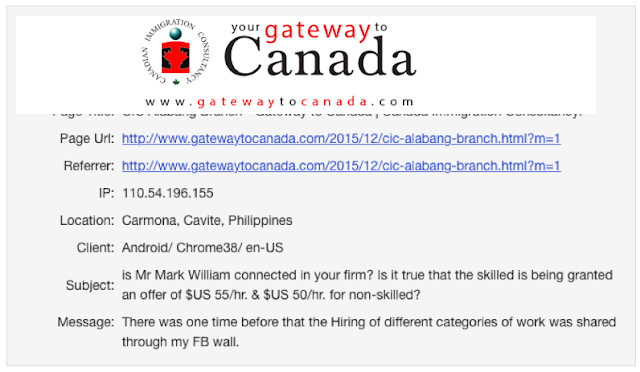 SCAM ALERT: Mark William - Urgent Job Recruitment in Quebec Canada