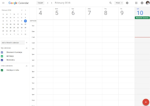 Google Calendar dashboard