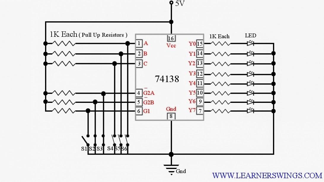 Controlling 74LS138, 3 - Line to 8 - Line Decoder / Demultiplexer