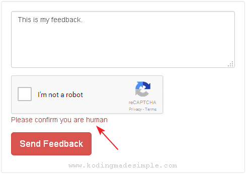 codeigniter recaptcha form validation