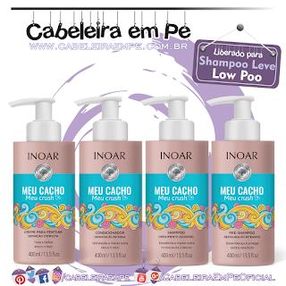 Pré Shampoo, Shampoo, Condicionador e Creme para Pentear  Meu Cacho Meu Crush - Inoar (Low Poo)