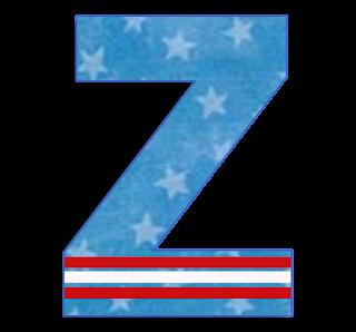 Abecedario de Bandera con Estrellas. Alphabet of Flag with Stars.