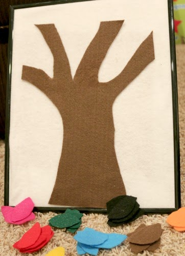 fall rhyme using felt tree