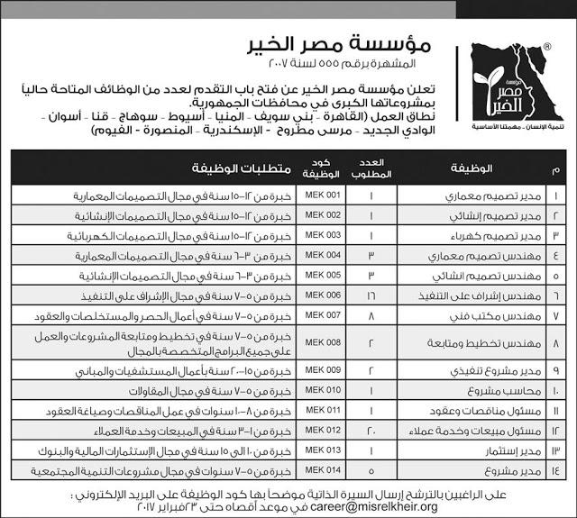 وظائف خالية فى مؤسسة مصر الخير للمؤهلات العليا 2019