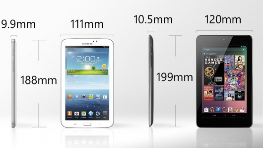 Galaxy Tab 3 vs. Nexus 7 size