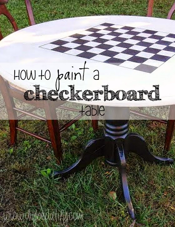 painted checker board game table