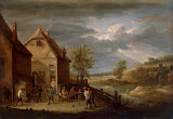 Landscape with Peasants Bowling by David Teniers II - Landscape Paintings from Hermitage Museum