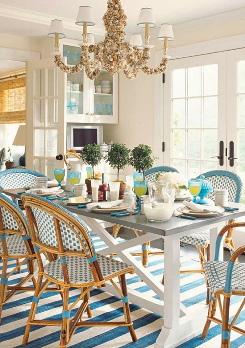 Blue Coastal Dining Room Table