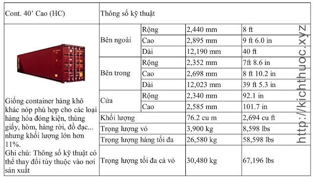 kich thuoc container loai cao 40 feet