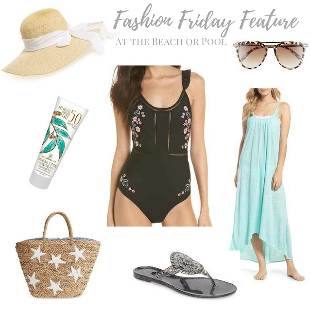 These outfit pieces will look good at the beach or the pool.  They include a swimsuit, cover-up, sunglasses, tote bag, sandals, hat and sunscreen | www.livingyoungandhealthy.com