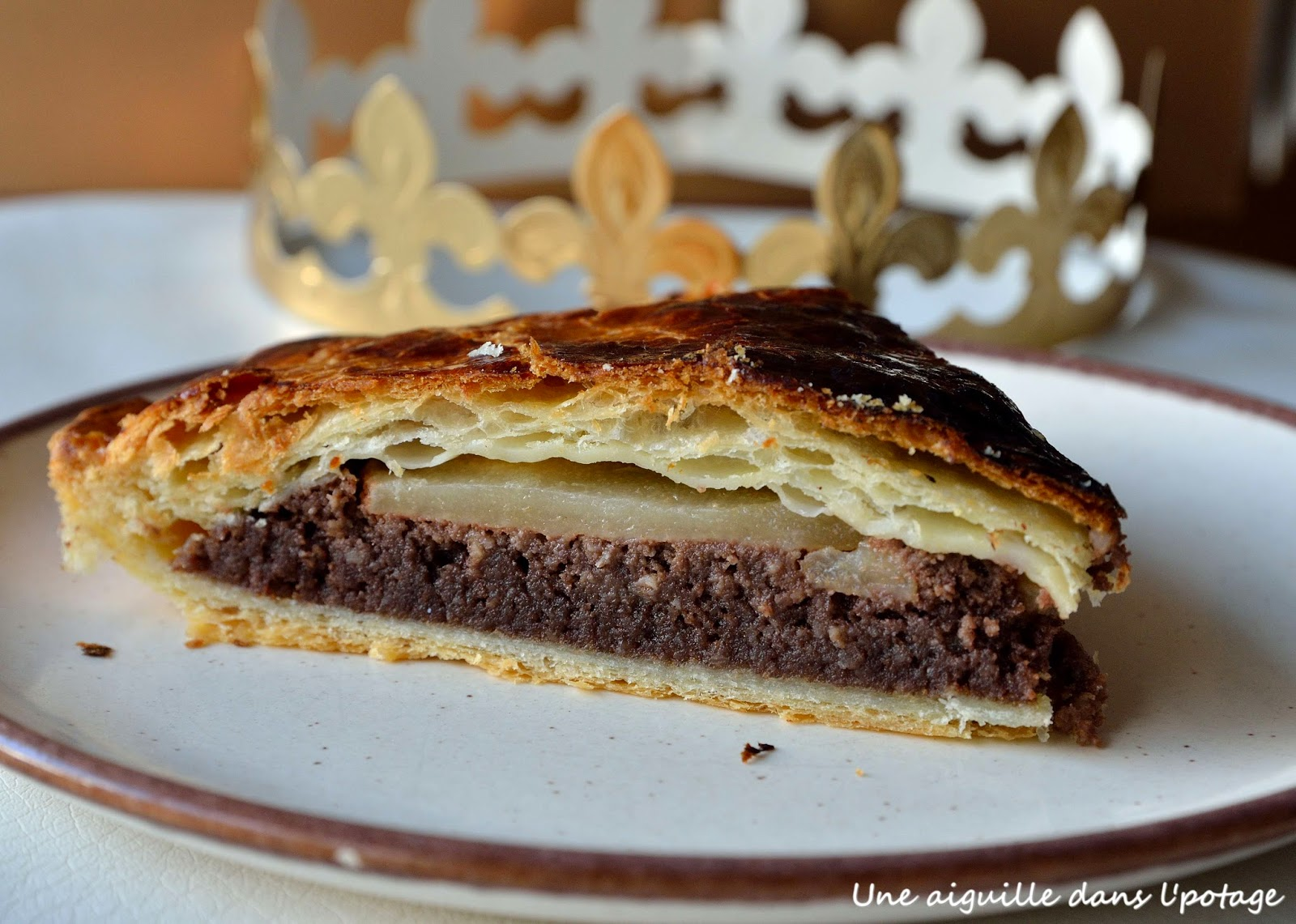 Galette des rois, poires et crème d'amande au chocolat