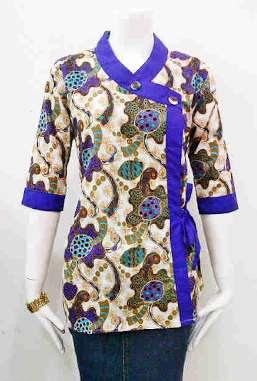 baju batik kerja wanita elegan