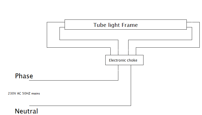 Electrical controls connection circuit for household electronic choke tube light this is applicable for 230vac 50hz mainsand it is a simple connection procedure to executethe below diagram explains you all ccuart Image collections