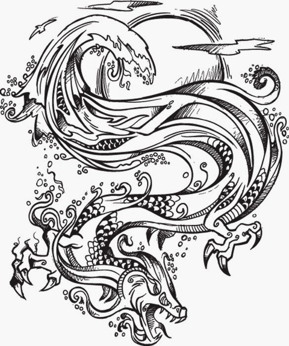 Dragon in the sea tattoo stencil