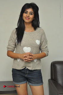 Actress Model Shamili (Varshini Sounderajan) Stills in Denim Shorts at Swachh Hyderabad Cricket Press Meet  0004.JPG