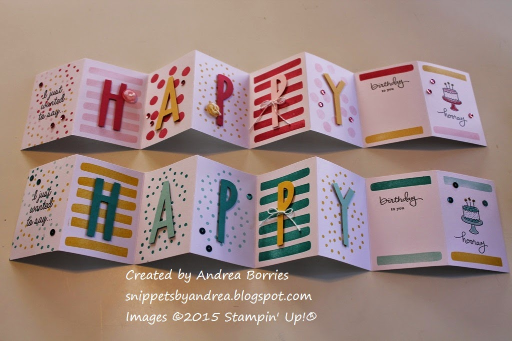 Birthday accordion cards made with the February 2015 Paper Pumpkin kit and other supplies.