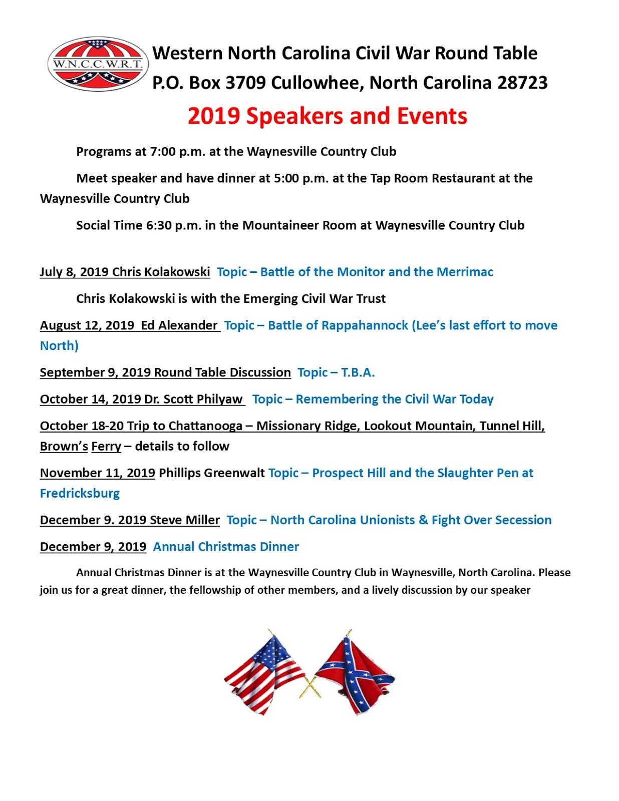 Western North Carolina Civil War Round Table: WNCCWRT 2019