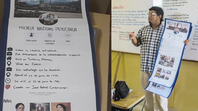 Profesor da clases de historia con perfiles de Facebook de héroes peruanos [FOTOS]