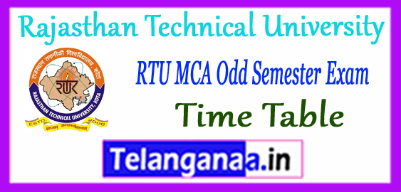 RTU Rajasthan Technical University MCA 1st 3rd Semester Exam Time Table 2017-18