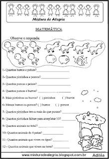 Atividade de matemática 1º ano