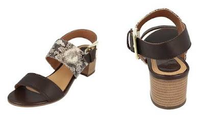 originales sandalias negras con tacon y piel efecto piton