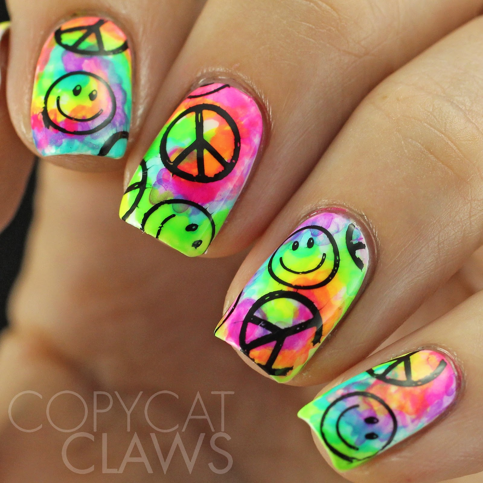 Copycat Claws Tie Dye Nails With Stamping