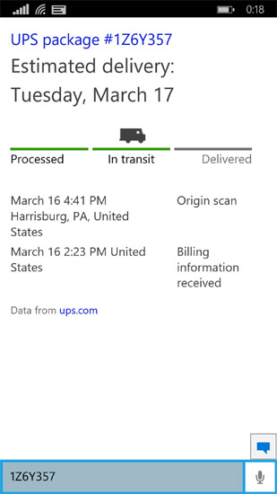 Cortana tracking your package on Windows Phone 10