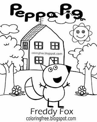 Top clipart simple nursery kids drawing ideas Freddy Fox Peppa pig printables basic coloring images