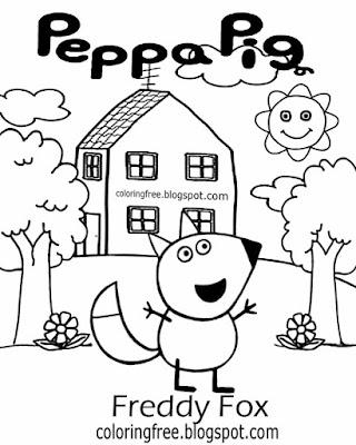 Top clipart simple nursery kids drawing ideas Freddy Fox Peppa pig printables basic coloring images