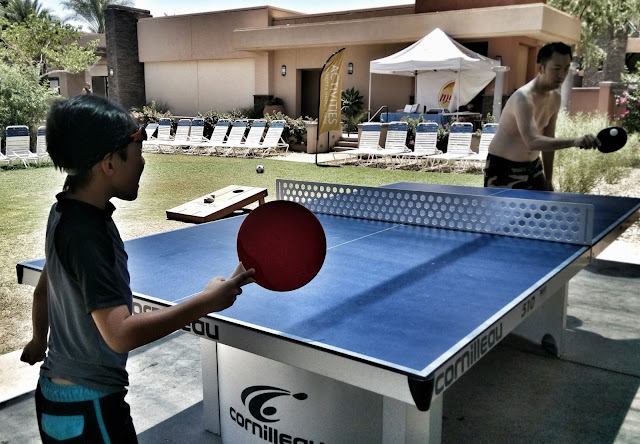 Marriot Shadow Ridge, Palm Desert in the Enclaves pool area playing ping pong.