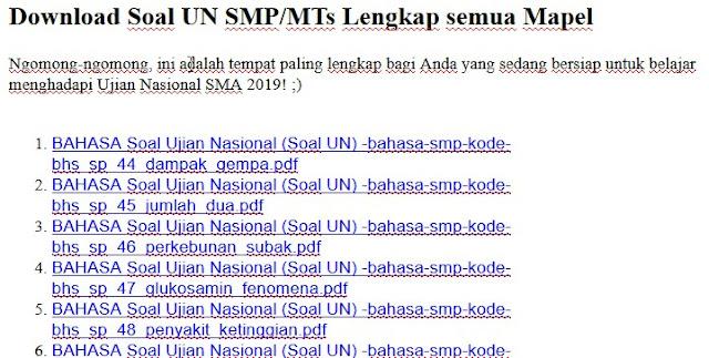 Download Soal UN SMP/MTs Lengkap semua Mapel